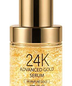 24K Gold Anti Aging Face Serum Moisturizer Enriched with Vitamin C Serum, Hyaluronic Acid, Vitamin E Cream for Day and Night Wrinkle Reduction, Facial Brightening and Re-activate Skin Youth (1FL.OZ)