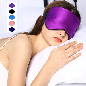 Axgo EM110P Soft Silk Mask & Blindfold with Adjustable Head Strap for Sleeping Night Eyeshade, Eye Cover for Travel, Shift Work & Meditation (Purple)