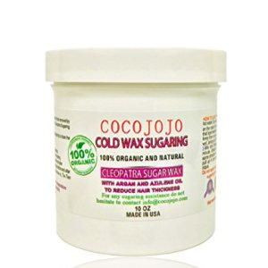 Cocojojo Full Body Cold Sugar Wax (semi-soft sugaring paste) for Medium to Fine Hair– All Natural Formula with Argan & Tea Tree Oil – Organic Sugar Wax for Hair Removal (10 oz) + Instructions Brochure