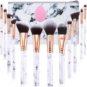 Makeup Brushes Set Gee-rgeous Professional 12Pcs Marble Make Up Brushes Set with Foundation Eyeshadow Eyebrow Brush Make Up Sponge Puff and Cosmetic Bag