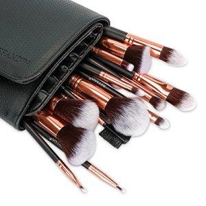 Refand Makeup Brushes, Face Brushes Cosmetics Foundation Powder Concealers Blending Eye Shadows Make Brushes Kit with Pu Leather Storage Bag Rose Gold Black (18 pcs)