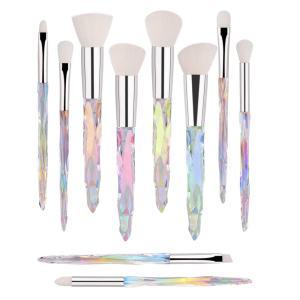 Makeup Brush Set 10 Piece Essential Make-up Brushes Kit for Powder Liquid Cream Cosmetics Blending Blush Concealer Brushes Transparent Plastic Handle (White)