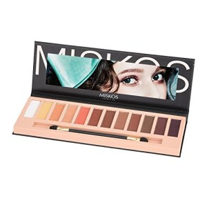 MISKOS 12 Colors Nude Tude Eyeshadow Palette Shimmer Matte Eye Makeup Pallete Set Highly Pigmented Red Dark Naked Eye Shadow Pallet (Matte A)