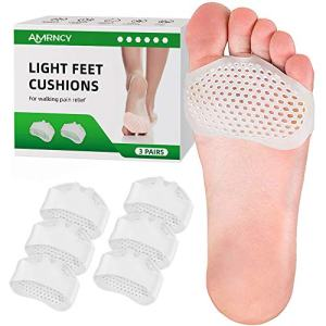 Metatarsal Pads Ball of Foot Cushions, 3 Pairs Soft Gel Ball of Foot Pads for Women's Shoes Morton Neuroma Pads Forefoot Pad Comfy Silicone Foot Pads for Ball of feet