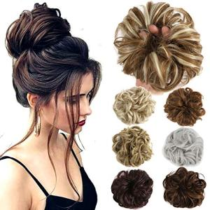 Lelinta Hair Bun Extensions Wavy Curly Messy Hair Extensions Donut Hair Chignons Hair Piece Wig Hairpiece Medium Brown onesize