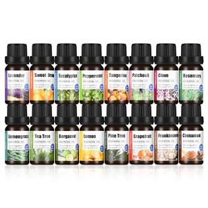 HERBROMAS - ESSENTIAL OIL SET for Aromatherapy Diffuser [Essential oils Lavender, Eucalyptus, Rosemary, Frankincense, Cinnamon, Clove, Patchouli, Bergamot, Peppermint, Lemongrass] Pack 16 x 10ml