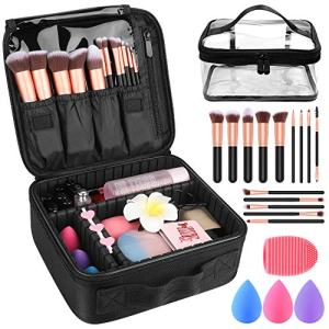 "Makeup Travel Case, Makeup Case with DIY Adjustable Divider Cosmetic Train Bag 10.3"" Organizer Perfect Set Contain 14pcs Premium Makeup Brushes 3 pcs Makeup Sponge Travel Bag Makeup Brush Cleaner"