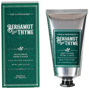 Pre de Provence Men's Shave Cream, Enriched With Natural & Repairing Shea Butter (2.5 fl oz) - Bergamot & Thyme