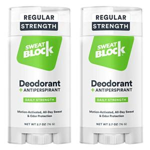 SweatBlock Deodorant Antiperspirant for Men and Women, Regular Strength, Solid (2-Pack)