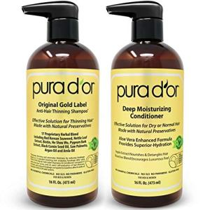 PURA D'OR Biotin Original Gold Label Anti-Thinning (16oz x 2) Shampoo & Conditioner Set, Clinically Tested Effective Solution w/Herbal DHT Ingredients, All Hair Types, Men & Women (Packaging Varies)