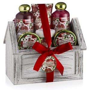 Mother Day Gift - Home Spa Gift Basket, 8 Piece Bath & Body Set For Men/Women, Exotic Pomegranate Scent - Contains Shower Gel, Bubble Bath, Lotion, Salts, Body Scrub, Towel, Cosmetic Bag & Wood Case