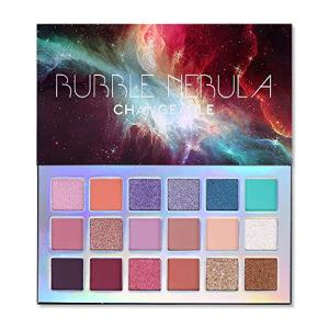 Bubble Nebula 18 Colors Eyeshadow Makeup Palette, High Pigmented Shimmer Matte Glitter Multi Reflective Creamy Blendable Long Lasting Vibrant Eyes Shadow Make Up Pallet Set