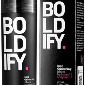 BOLDIFY Hair Fibers for Thinning Hair (BLACK) 100% Undetectable Natural Fibers - Giant 28g Bottle - Completely Conceals Hair Loss in 15 Seconds - For Women & Men