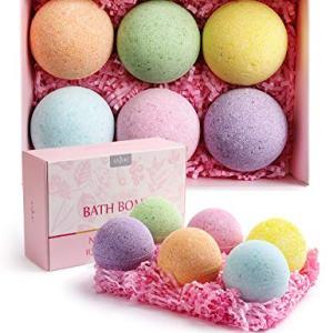 Bath Bombs Gift Set, Anjou 6 x 4.0 oz Vegan Natural Essential Oils, Fizzy Spa Moisturizes Dry Skin, Bubble Baths, Perfect Gift Kit Ideas for Girlfriends, Women, Moms, Her/Him, Birthday, Valentine