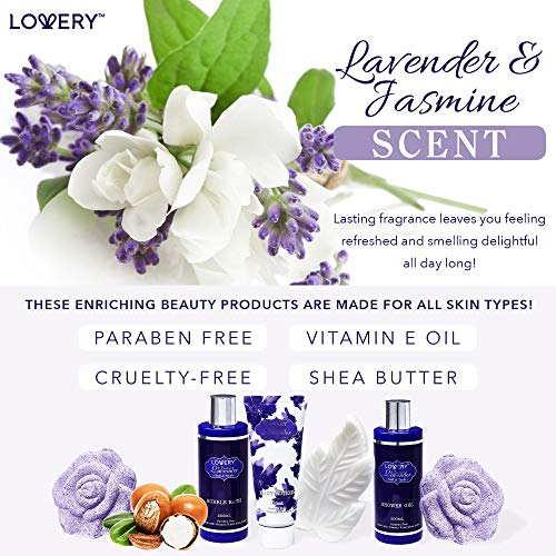 Mothers Day Gifts - Bath and Body Gift Set For Women – Lavender and Jasmine Model: LOVERY