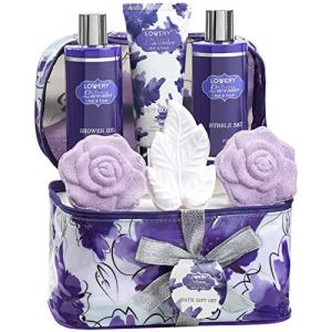 Mothers Day Gifts - Bath and Body Gift Set For Women – Lavender and Jasmine Home Spa Set With Double Sized Bath Bombs, Reusable Travel Cosmetics Bag and More
