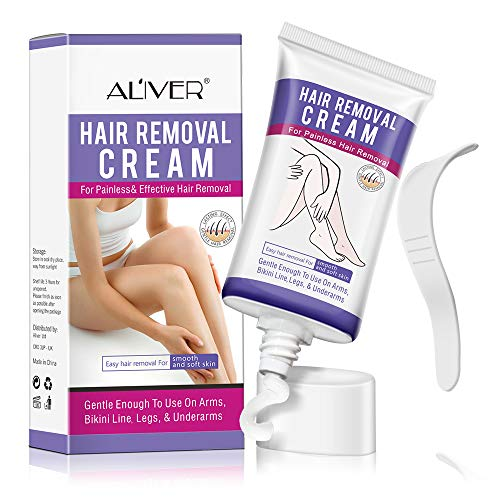 Hair Removal Cream for Women, Depilatory Cream, Natural Painless Permanent Thick Hair Removal Lotion + Plastic Scraper, Used for Arm, Bikini Line, Legs and Underarm Smooth and soft skin- 50ml