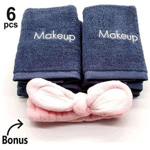 """Makeup Remover Towels 6pack - Makeup Remover Cloth 13"""" X 13"""" - Reusable Facial Cleansing Towel With Headband - Ultra Soft 100% Cotton Towel"""