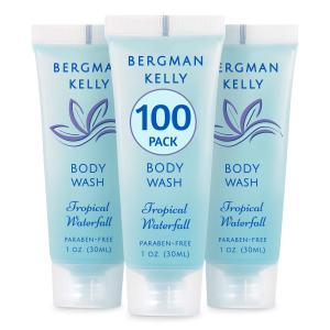 BERGMAN KELLY Travel Size Body Wash (1 fl oz, 100 PK, Tropical Waterfall), Delight Your Guests with an Invigorating and Refreshing Hotel Body Wash, Mini and Small Size Guest Hotel Toiletries in Bulk