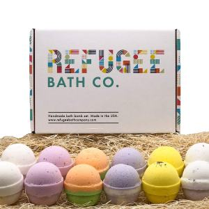 Refugee Bath Co. Variety Pack Bath Bombs | 2.5 oz. each | Cocoa Butter and Plant-based ingredients | Support Refugee Employment in USA (Variety 12 Pack)