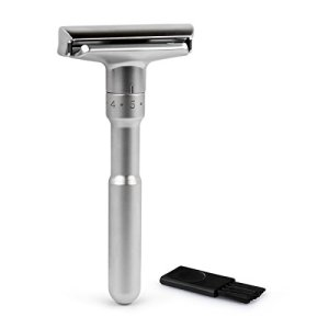 QSHAVE Adjustable Double Edge Classic Safety Razor (1 Razor & 5 pcs Titanium Coated Blades)