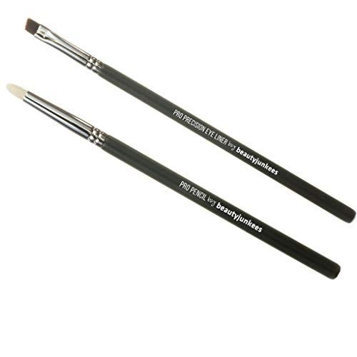 Professional Eyeliner Makeup Brush Set – 2pc Beauty Junkees Eye Liner Brushes Includes pro Precision Gel Liner for Tightline and pro Pencil Smudge for Blending Shadows on Lash Line; Premium Quality