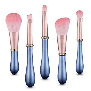 MIKOO-REMEI Makeup Brushes Premium Synthetic Foundation Powder Concealers Eye Shadows eyebrow Makeup 5 Pcs Brush Set, for Beautiful Female (Pink+Blue)