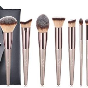 Makeup Brushes Set 10 PCs Cosmetic Brushes with Tote Bag Premium Synthetic for Foundation Blending Blush Powder Blush Concealers Eye Shadows Brushes Kit