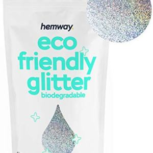 "Hemway Eco Friendly Biodegradable Glitter 100g / 3.5oz Bio Cosmetic Safe Sparkle Vegan for Face, Eyeshadow, Body, Hair, Nail and Festival Makeup, Craft - 1/128"" 0.008"" 0.2mm - Silver Holographic"