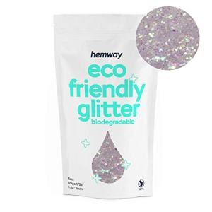"Hemway Eco Friendly Biodegradable Glitter 100g / 3.5oz Bio Cosmetic Safe Sparkle Vegan for Face, Eyeshadow, Body, Hair, Nail and Festival Makeup, Craft - 1/24"" 0.04"" 1mm - Mother of Pearl"