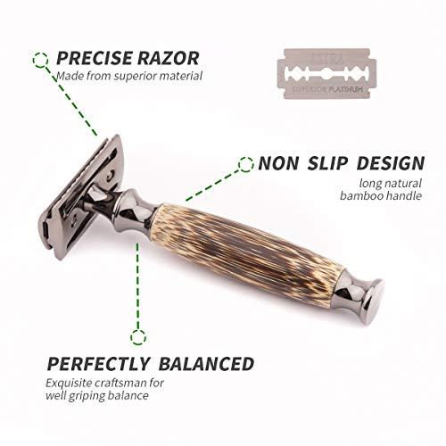 Double Edge Safety Razor for Men or Women, Eco Razor Double Edge Safety Razor for Men or Women, Eco Razor with Natural Bamboo Handle, Unisex Sustainable Razor,Fits All Double Edge Razor Blades, Plastic-Free(Thick).