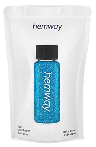 "Hemway Glitter Tube 12.8g / 0.45oz Extra Chunky 1/24"" 0.04"" 1MM Premium Sparkle Gel Nail Dust Art Powder Makeup Pigment Eyeshadow Face Body Eye Cosmetic Safe-(Baby Blue)"