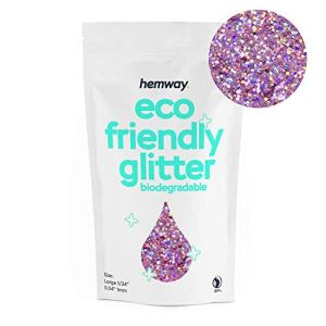 "Hemway Eco Friendly Biodegradable Glitter 100g / 3.5oz Bio Cosmetic Safe Sparkle Vegan for Face, Eyeshadow, Body, Hair, Nail and Festival Makeup, Craft - 1/24"" 0.04"" 1mm - Pink Holo"