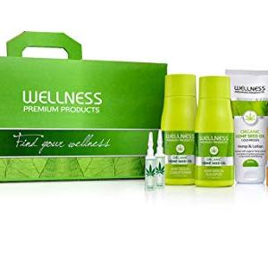 Wellness Premium Products Top 7 Box Including Hemp Seed Oil Shampoo, and Conditioner, Intensive Hair Serum, Intensive Hair Mask, 2-10ml Ampoules and Hemp Seed oil Lotion