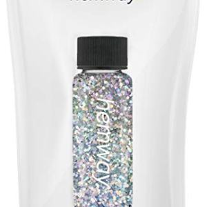 "Hemway Glitter Tube 12.8g / 0.45oz Extra Chunky 1/64"" 0.015"" 0.4MM Premium Sparkle Gel Nail Dust Art Powder Makeup Pigment Eyeshadow Face Body Eye Cosmetic Safe-(Silver Holographic)"