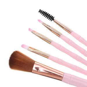 Makeup Brush Set Premium Powder Blender Brushes for Eyeshadow Eyeliner Eyelash Eyebrow Lip Blush Concealer 5PCS Basic Fiber Blending Brush Case Professional Face Eyes Cosmetics Tools (Pink)