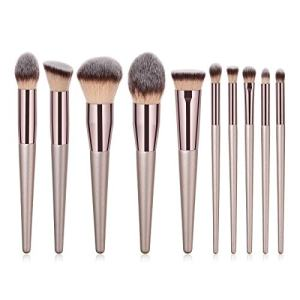 ILADIO Makeup Brush Sets - 10 PCS Wood Handle Soft Synthetic fiber hair Kabuki Powder Blush Liquid Eyeliner Eyeshadow Lip Eyebrow Brush (Champagne Gold)
