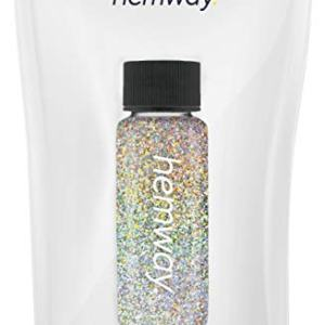 "Hemway Glitter Tube 12.8g / 0.45oz Extra Chunky 1/24"" 0.04"" 1MM Premium Sparkle Gel Nail Dust Art Powder Makeup Pigment Eyeshadow Face Body Eye Cosmetic Safe-(Gold/Silver Holographic)"