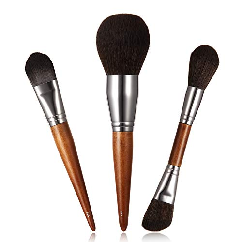 3pcs Face Makeup Brushes Set for Women Wood Handle Professional Premium Synthetic Make Up Power Contour Highlight Blush Brush Kit for Girls Cosmetics
