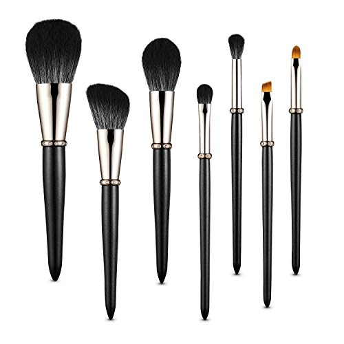 MIKOO-REMEI Makeup Brushes, 7Pcs Premium Synthetic Contour Concealers Foundation Powder Eye Shadows Eyebrow Makeup Brushes, Portable Travel Makeup Brush Sets (Black)