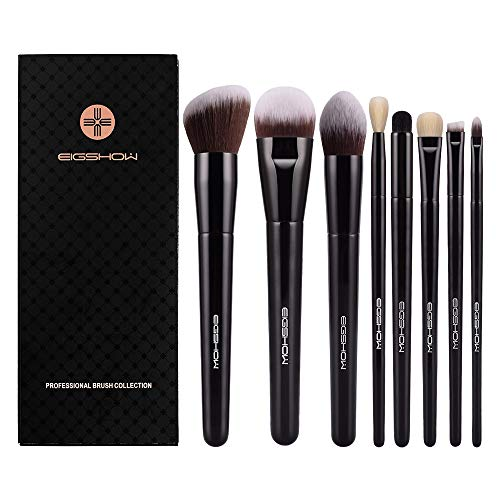 Makeup Brushes, Eigshow Premium Makeup Brush Set Synthetic Cosmetics Foundation Powder Concealers Blending Eye Shadows Face Kabuki Makeup Brush Sets (Bazaar Black 8pcs)