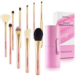 Queenmew Makeup Brushes, Premium Goat Hair Makeup Brush Set, 10pcs Professional Cosmetic Brushes - Foundation Powder Contour Eye Shadow Concealer Blending Brush Sets with Make up Kit Gift Holder