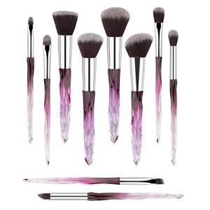 Premium Makeup Brush Set, 10pcs Complete Synthetic Kabuki Eye Shadow Concealer Make Up Brushes Beautiful Crystal Handle (Purple)