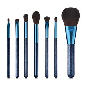 BBL Luxury 7pcs Sapphire Makeup Brush Set, Premium Synthetic Hair Cosmetic Brushes for Foundation Blush Face Powder Eyeshadow Liquid Cream Tapered Concealer Contour Blending Highlighting Eyebrow kabuk