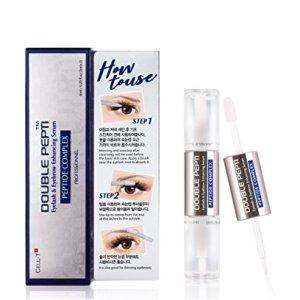 DOUBLE PEPTI Eyelash & Eyebrow Enhancing Serum - Natural Growth Enhancer for Long, Luscious of Brows, Lashes and Hair Treatment - Premium Korean Beauty Lash Accelerator Serum