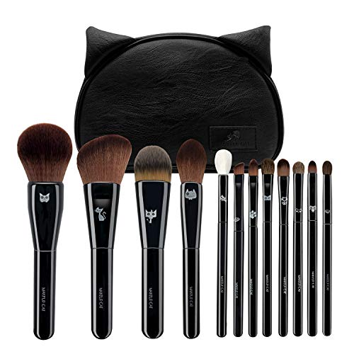Makeup Brushes Set with Cute Case,12PCS Professional Premium Synthetic Makeup Brush Kit - For Face And Eyes -Includes Foundation - Contouring - Blending - Blush And Eyeshadow Brushes(Black)