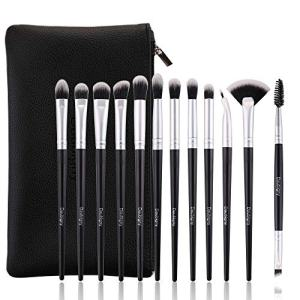Daubigny Eye Makeup Brushes, 12 PCS Professional Eye shadow, Concealer, Eyebrow, Foundation, Powder Liquid Cream Blending Brushes Set With Carrying Bag (Silver)