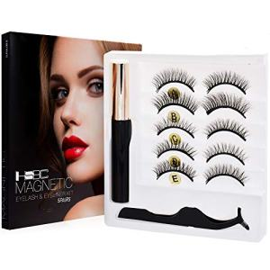 Magnetic Eyeliner and Lashes Magnetic Eyelashes Kit False Lashes 5 pairs with Tweezers