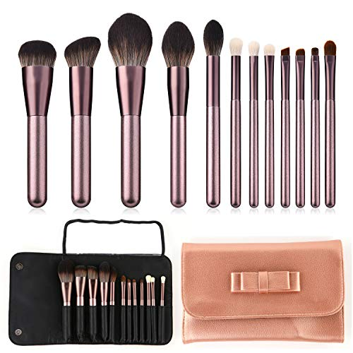 Aolongli Makeup Brush set 12pcs Premium Synthetic Bristle Brushes Eye Shadows Foundation Powder Concealers Cosmetics Brushes for Eye and Face Professional Make up Brush Kit (Microcrystalline Silk)