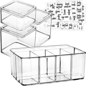Talented Kitchen 5-Pack Makeup Organizer Premium Quality Acrylic Plastic Containers. Bathroom Beauty Storage Set: 4 Canisters & 107 Printed Labels Organization